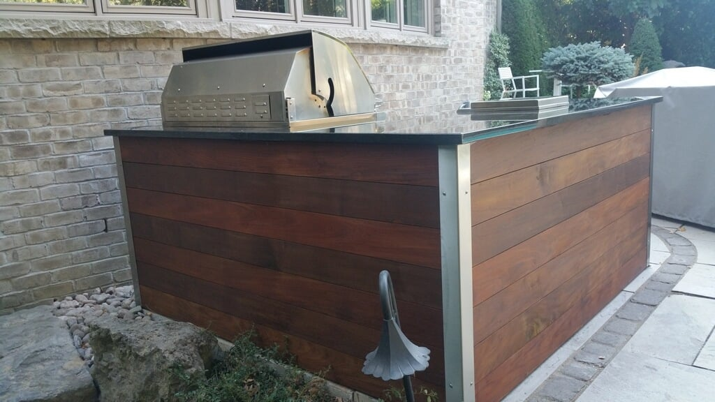 Ipe Wood Finish On L Shaped Island My Outdoor Kitchen
