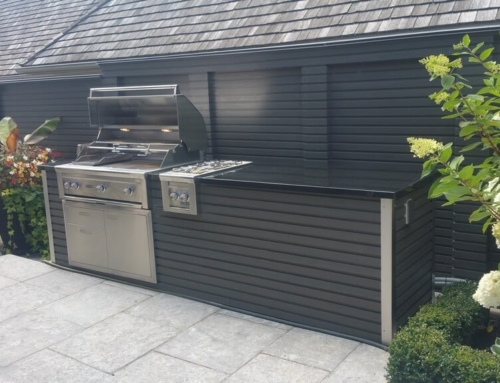 Outdoor Kitchen with Profiled Wood Finish